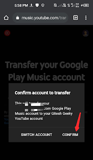 Confirm your account in which you transferred the data
