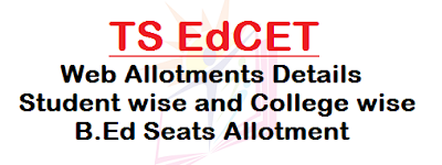 TS EdCET, Web Allotments, Student and College wise