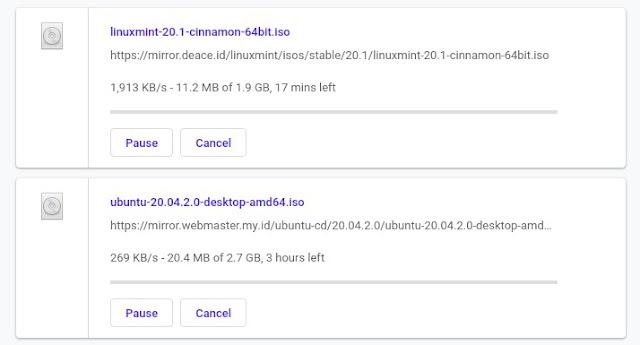 Ukuran ISO Ubuntu dan Linux Mint