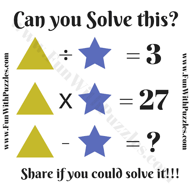 Can you solve this Math Puzzle? T/S=3, T*S=27, then T-S=?