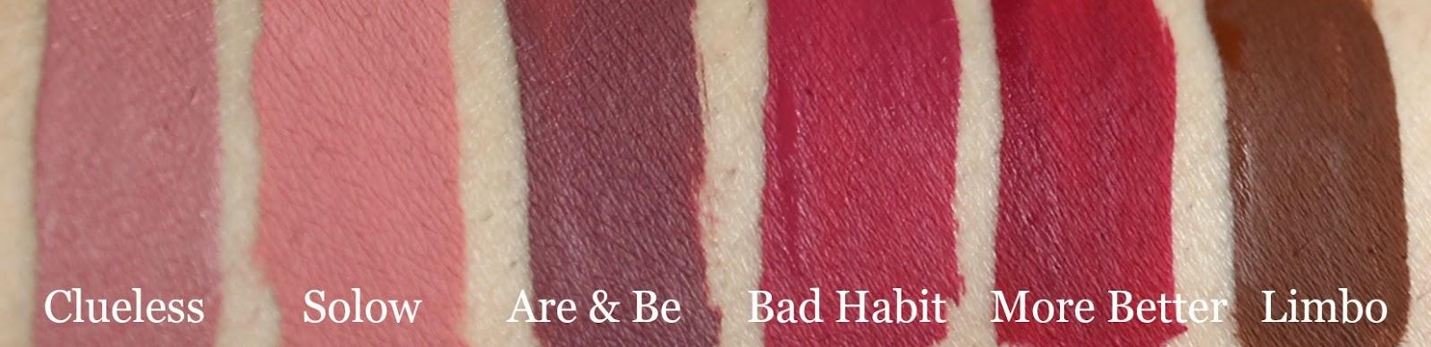 colourpop liquid lipstick clueless, solow, are n b, bad habit, more better, limbo swatch
