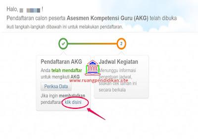 membatalkan pendaftaran AKG