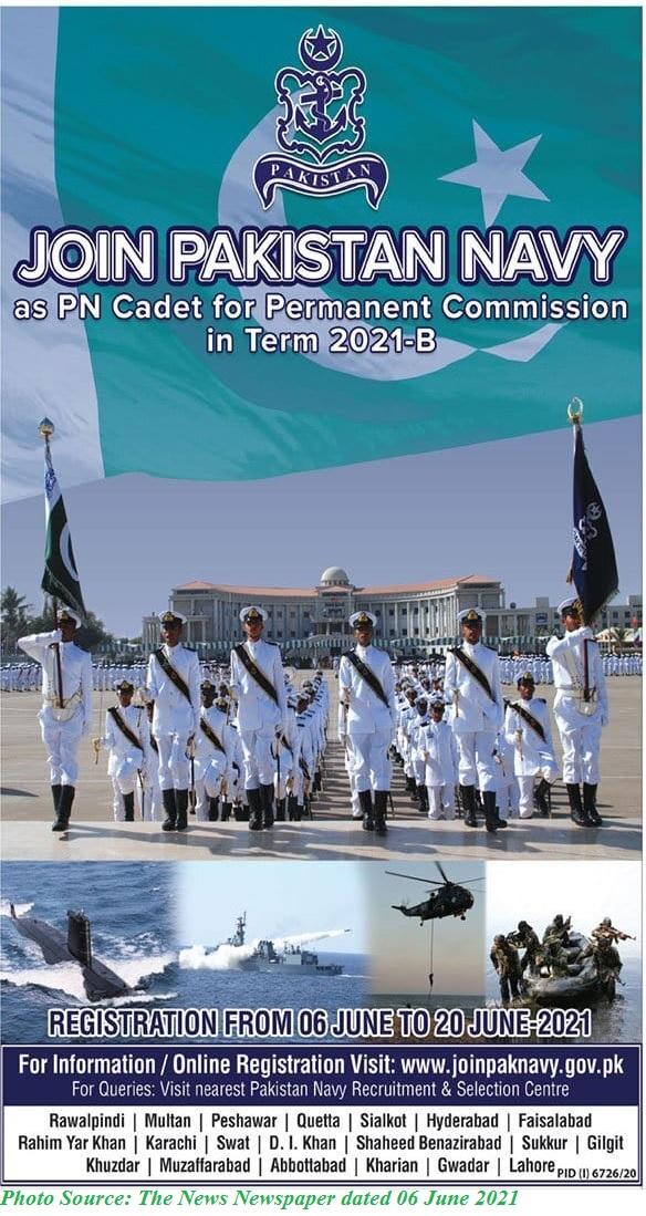 Join Pak Navy as PN Cadet 2021 B - Apply Online for Latest Pak Navy Jobs June 2021