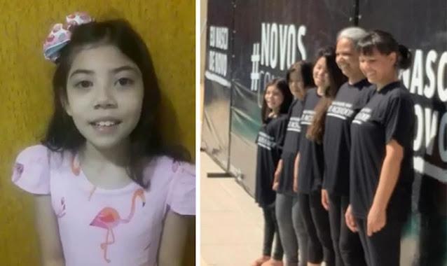 """Menina de 9 anos evangeliza e leva família ao batismo: """"Eu falei de Jesus"""""""