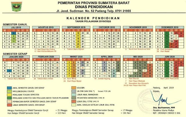 Kalender pendidikan Provinsi Sumatera Barat Tahun Pelajaran 2019/2020