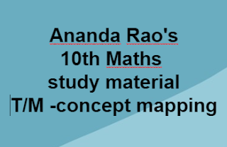 Ananda Rao's -10th Maths- study material-  T/M -concept mapping-     10th class- Mathematics Page- AP SSC/AP 10th class Maths Materials ,Bitbanks ,Slowlerners materials    AP SSC/10th class Mathematics English and Telugu medium materials ,Maths, telugu  medium,English medium  bitbanks, Maths Materials in English,telugu medium , AP Maths materials SSC New syllabus ,we collect English,telugu medium materials like Sadhana study material ,Ananta sankalpam materials ,Maths Materials Alla subbarao ,DCEB Kadapa Materials ,CCE Materials, and some other materials...These are very usefull to AP Students to get good marks and to get 10/10 GPA. These Maths Telugu English  medium materials is also very usefull to Teachers and students in AP schools...      Here we collect ....Mathematics   10th class - Materials,Bit banks prepare by Our Govt Teachers ..Utilize  their services ... Thankyou...      10th Maths- study material-  T/M -concept mapping- by Ananda Rao    For More Materials GO Back to  Maths Page in MannamWeb