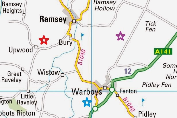 Map showing location of RAF Upwood, RAF Warboys and Dovehouse Farm where Josef Jakobs landed.