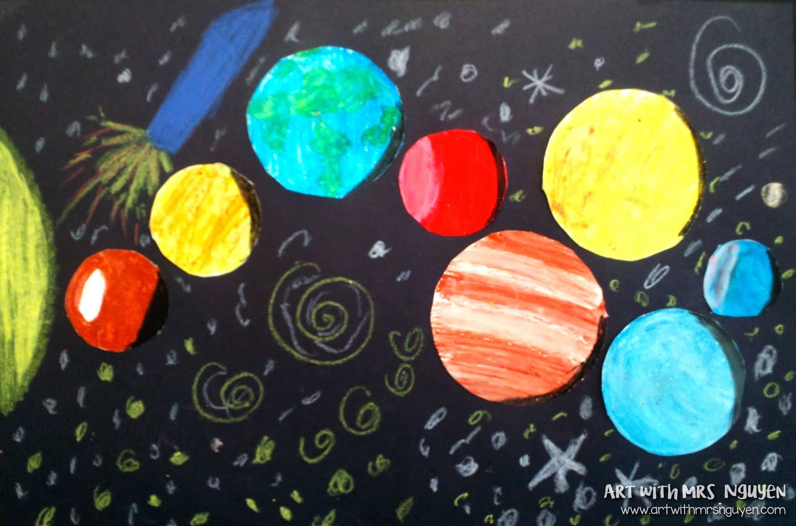 Oil Pastel Solar Systems 5th