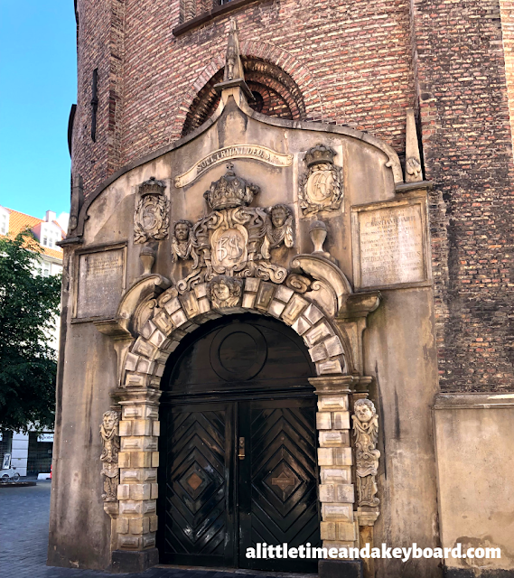 Grand entrance to The Round Tower astronomical observatory in Copenhagen, Denmark.
