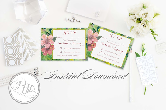 tropical island watercolour rsvp reply card template by rbh designer concepts