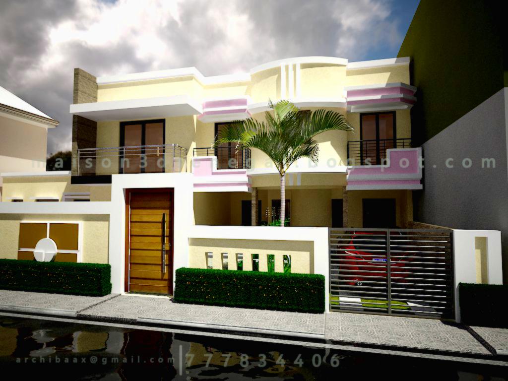 Maison 3D Dakar Senegal: Projet R+1 Facade 3D Moderne