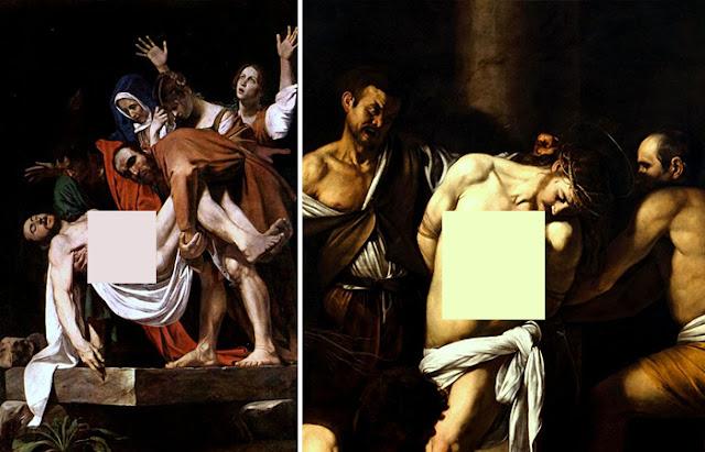 """Caravaggio """"O sepultamento de Cristo"""" (1603) / """"Flagelação de Cristo"""" 1607"""
