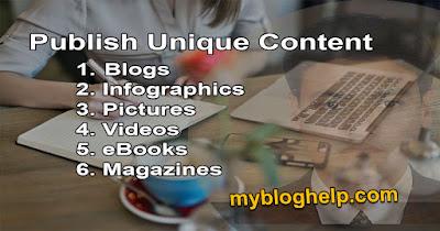 Publish Unique Content Organic leads