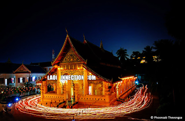 Lao New Year - The Temple Candle Walk ວຽນທຽນ around Vat Ong Teu in Vientiane