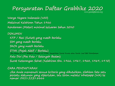 Persyaratan Daftar Grabbike 2020