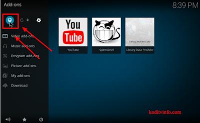Choose the Addon Icon to install Reddit Kodi Addon