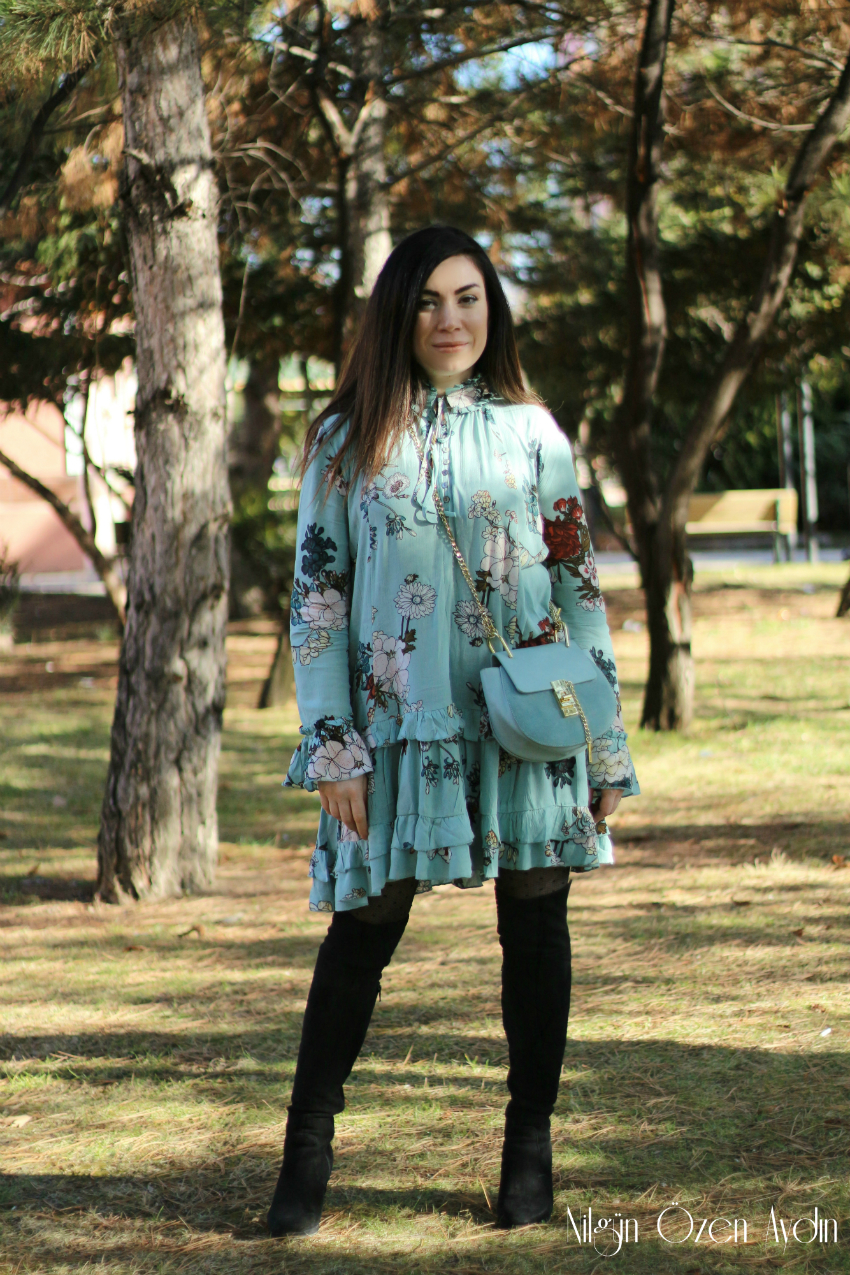 Mavi Çiçekli Elbise-fashion blogger-moda blogu-popreal