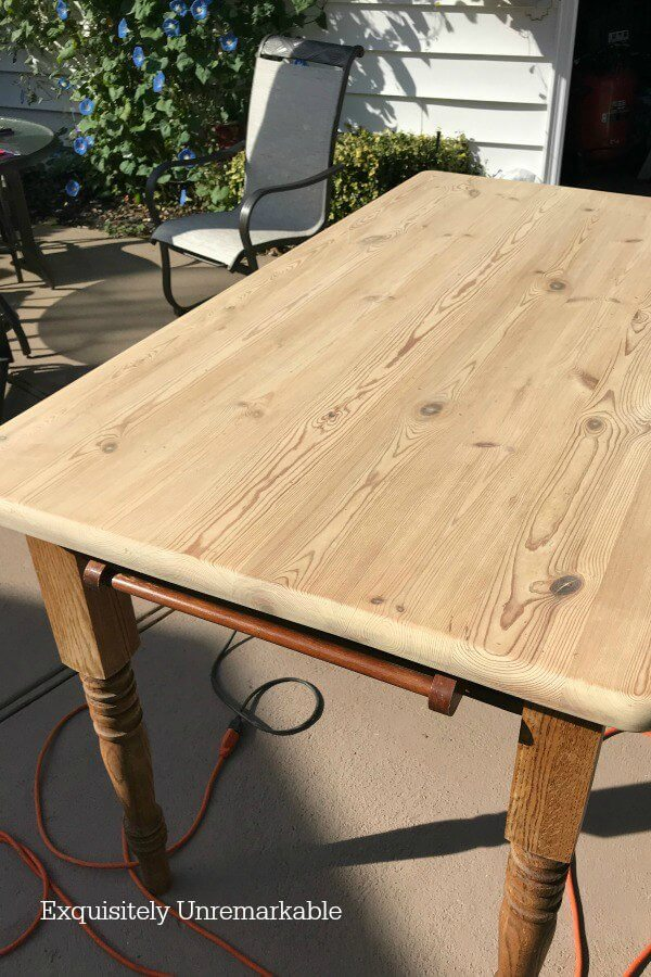 Sanded Wooded Table outside on a patio