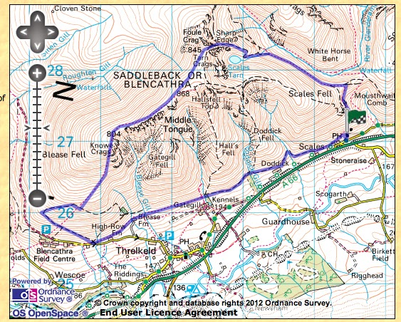Blencathra via Sharp Edge Walk with route map & photos - one ... on map a path, map a drive, map a course, map a run, map a cut, map a distance, map a process,