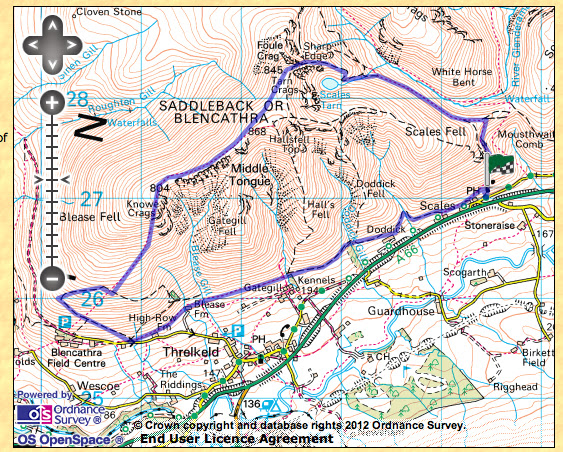blencathra via sharp edge and scales tarn walk route map
