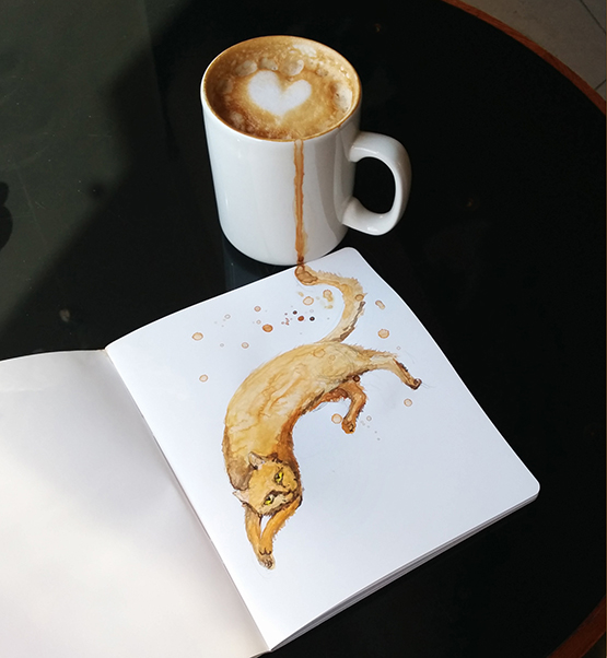 03-Cappuccino-Elena-Efremova-Coffee-Cats-Watercolor-Paintings-www-designstack-co