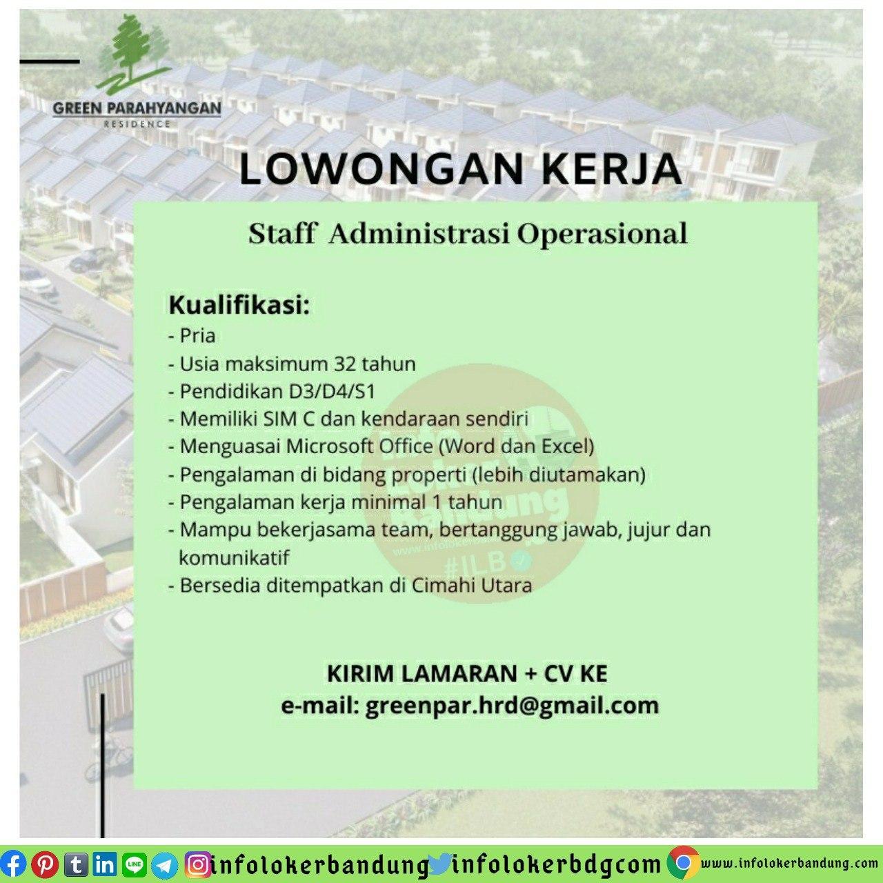 Lowongan Kerja Staff Administrasi Operasional Green Parahyangan Residence Bandung Juni 2020