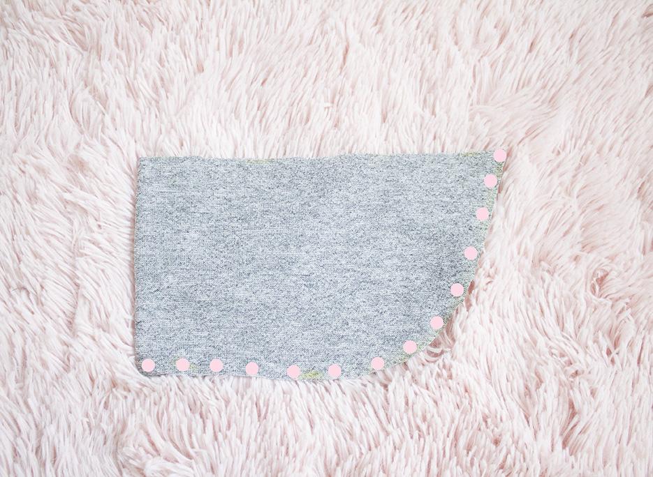 grey ruffle piece cut out