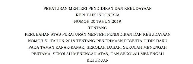 Download Permendikbud Nomor 20 Tahun 2019 Tentang PPDB TK, SD, SMP, SMA, dan SMK
