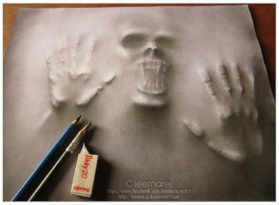 Dibujos a lápiz realistas 3D saliendo del papel