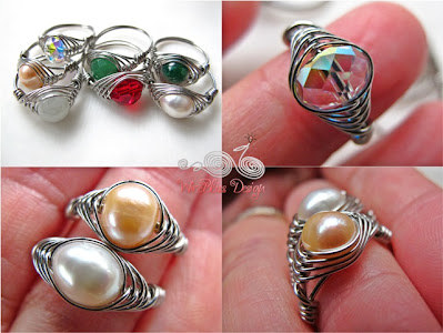 Herringbone Weaved Rings with pearl, swarovski crystals