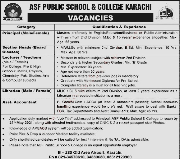 Latest New jobs in ASF Public School & College May 2021