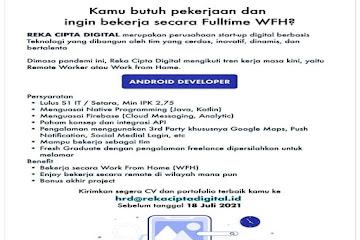 Lowongan Kerja Android Developer Reka Cipta Digital Bandung