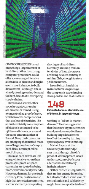 Green bitcoin alternatives leads to disk drive shortages (Source: M. Sparkes, New Scientist, May 15)
