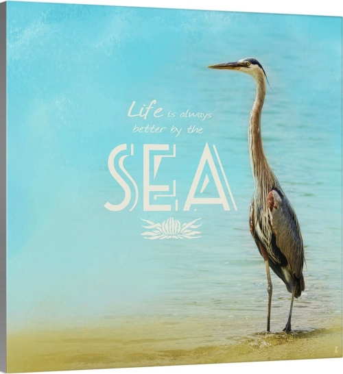 Heron Canvas Art with Sea Life Better Quote