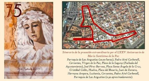 Horario e Itinerario de la Procesión Extraordinaria de María Santísima de la Paz de Almonte por su LXXV Aniversario