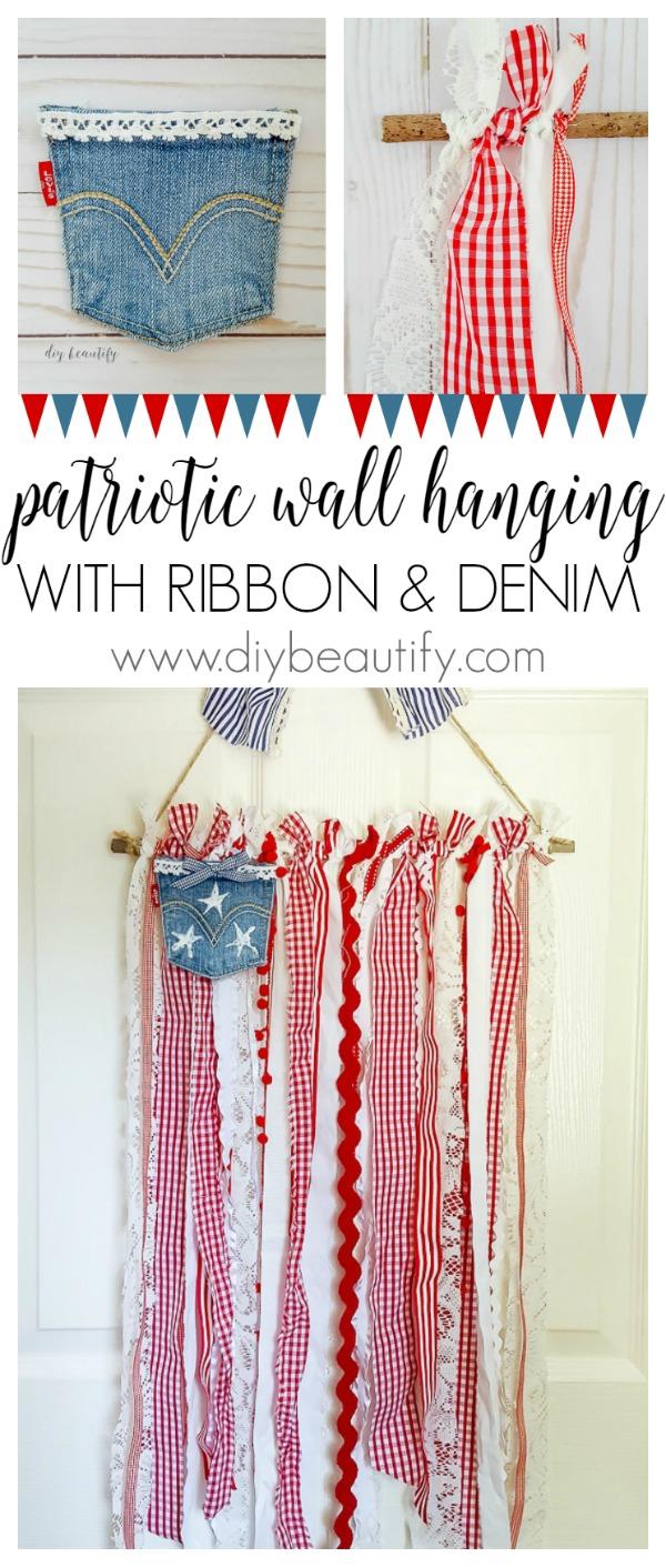 patriotic wall hanging using ribbon and denim  |  diy beautify