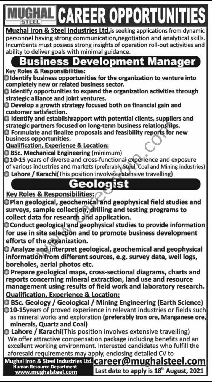 Jobs in Mughal Iron & Steel Industries Ltd