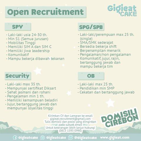 lowongan kerja  Gigieat  Cirebon