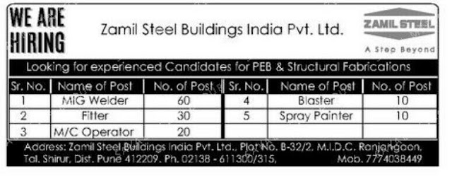Zamil Steel Buildings India Pvt Ltd Vaccancy in Pune