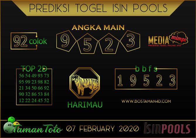 Prediksi Togel ISIN TAMAN TOTO 07 FEBRUARY 2020