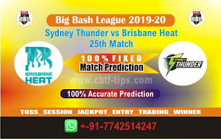 Brisbane vs Thunder Dream11 Prediction, Fantasy Cricket Tips & Playing XI Updates for Today's BBL T20 25th Match