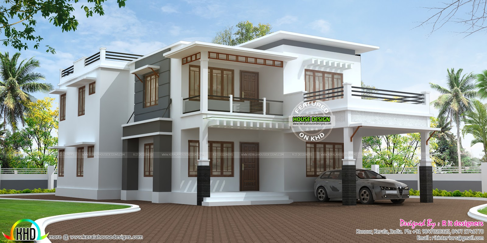 2531 sq ft flat roof modern house kerala home design and for Flat roof home plans
