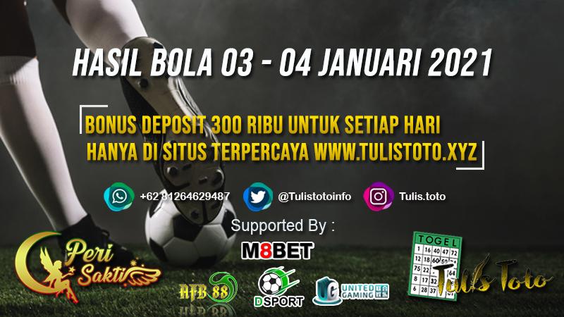 HASIL BOLA TANGGAL 03 – 04 JANUARI 2021