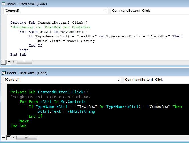 ubah tampilan jendela vba code
