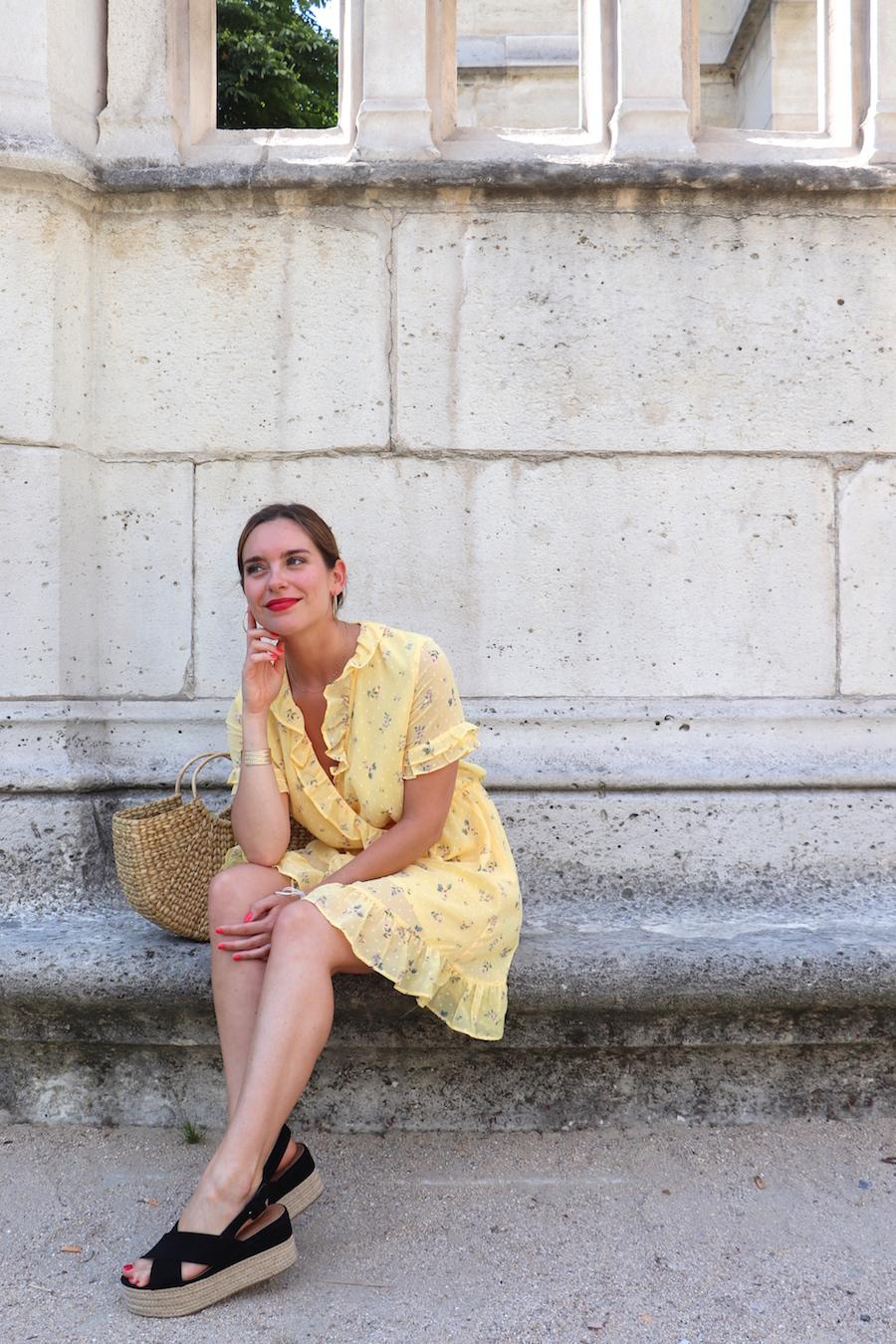 robe jaune fleurie h&m 2