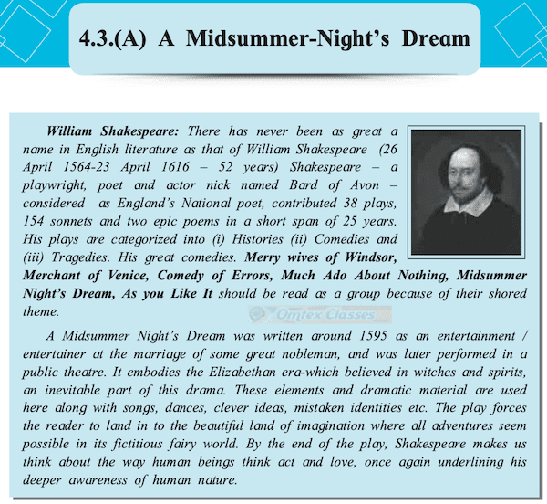 Chapter 4.3 - Extracts of Drama - (A) A Midsummer - Night's Dream Balbharati solutions for English Yuvakbharati 11th Standard Maharashtra State Board