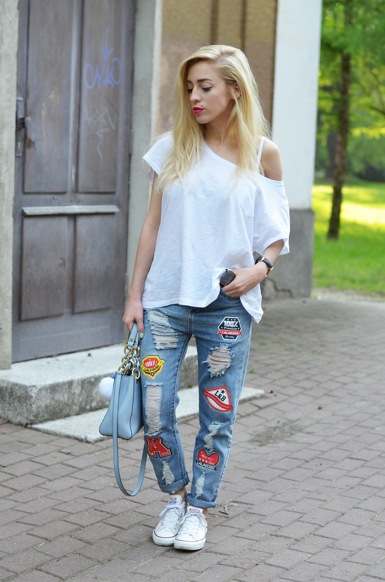jeans with patches jeansy z naszywkami
