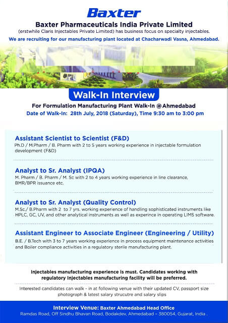 Job Opening for multiple positions at Baxter Pharmaceuticals India Pvt. Ltd