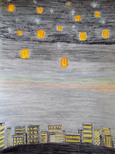 Drawing image of flying kites