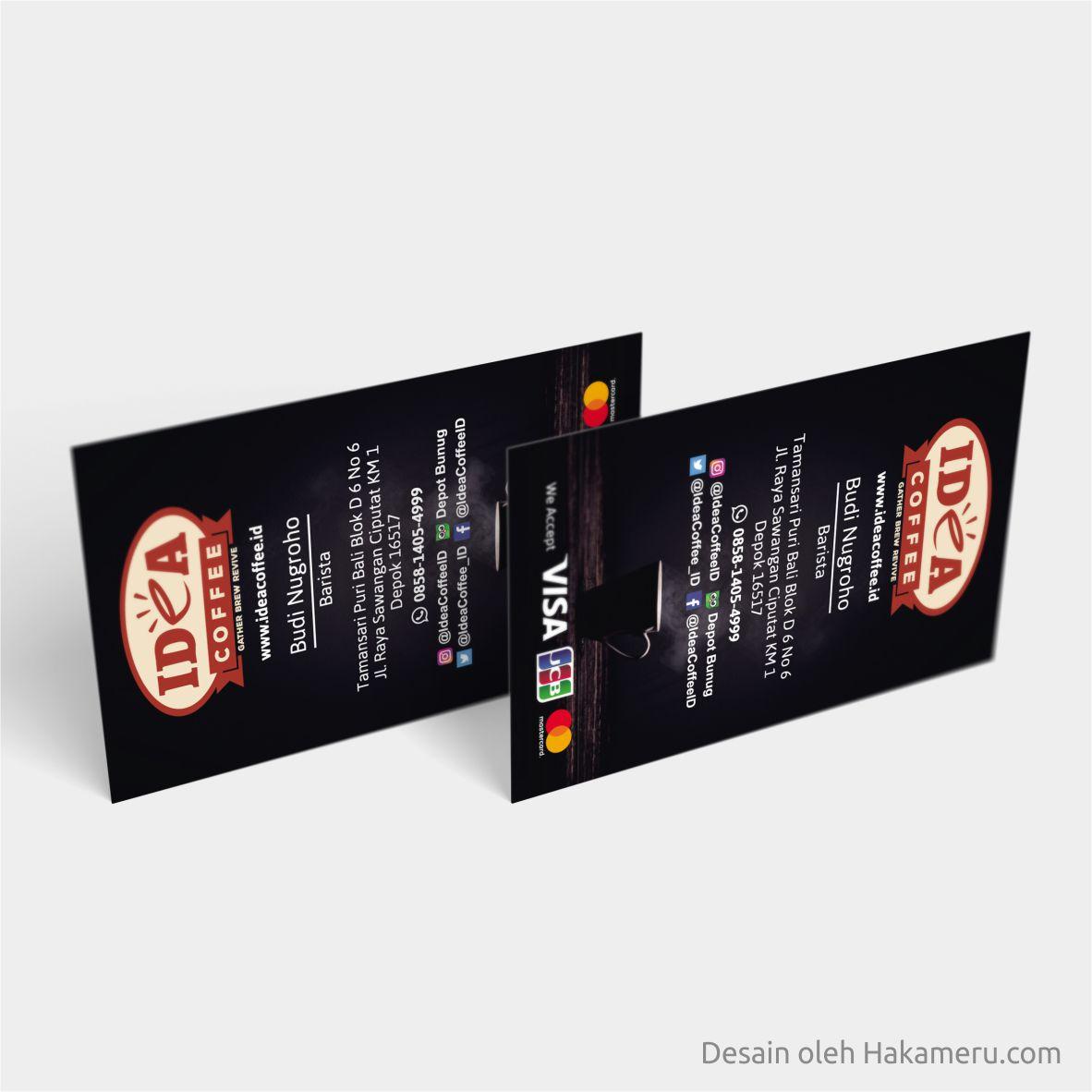 Hasil contoh desain kartu nama untuk usaha kopi Idea Coffee